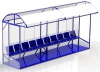 В11 Скамейка для запасных игроков разборная(10 мест) - спортинвентарь оптом, Пумори-Спорт, Екатеринбург