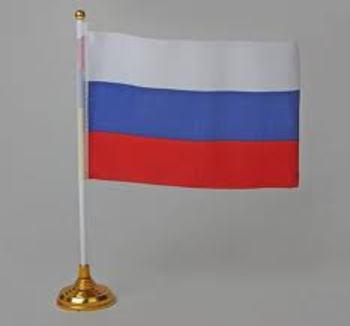 Флаг 14*21 со штоком на подставке ткань, пластик 412816 - спортинвентарь оптом, Пумори-Спорт, Екатеринбург